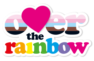Over the Rainbow LGBTQIA Bournemouth, Dorset. Our fab logo with the pride and trans colours.