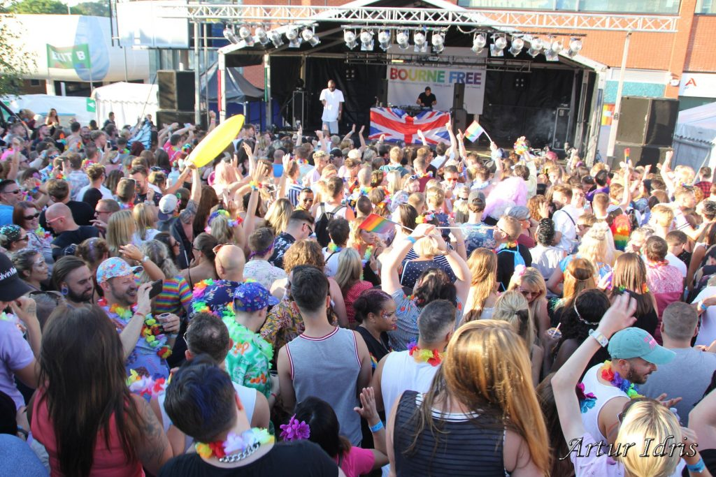 The Bourne Free LGBTQIA event each year in Bournemouth.